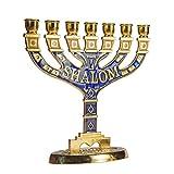 JL Kippha's Jerusalén - Portavelas Decorativo, 7 Ramas, Shalom Israel, Menorah Hanukkah, Metal, Large 16 * 16cm