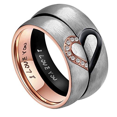 ANAZOZ Seine & Männer für Real Love Herz Versprechen Ring Edelstahl Hochzeit Trauringe Bandringe 6MM US Größe 9