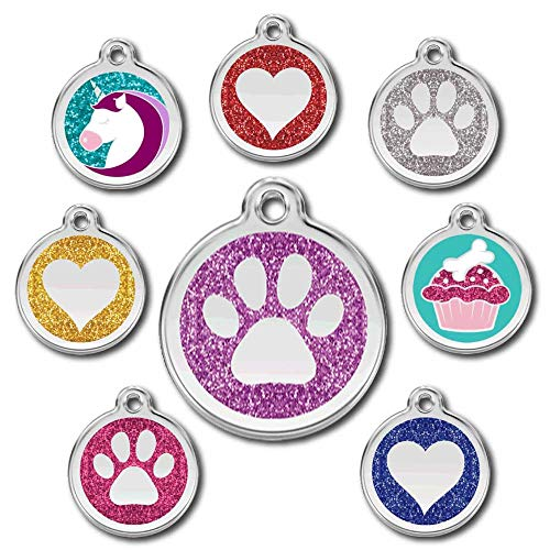 Love Your Pets Deluxe Deep Engraved Pet ID Tags - Stainless Steel & Glitter - Now Selling on Amazon! Paw, Heart, Bone Pet Tags, Dog Tags, Cat Tags - Most Ship Next Day (Purple, Paw)