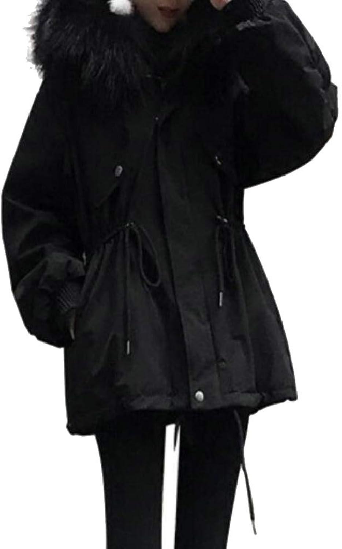 QDCACA Women's Winter Mid Long Hooded Drawstring Thicken Down Jacket Coat