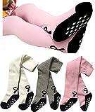Toptim Baby Girl's Tights Toddler Non-skid Leggings 3 Pack (White Gray Pink, 6-12M)