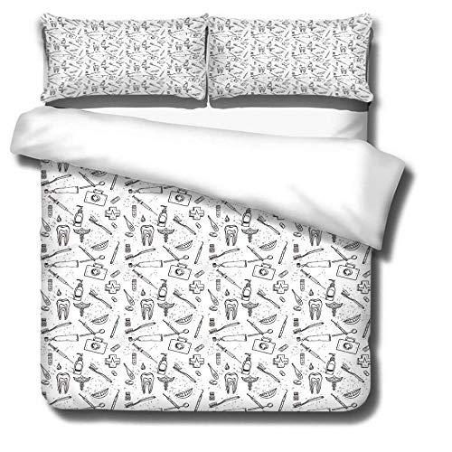 KLBPL Bett Dreiteiliger Kissenbezug Zahn, Zahnbürste, Zahnpasta Bettbezug Bettwäsche Set - Bettbezug Und 2 Kissenbezug,Mikrofaser, Weich, Gegen Milben