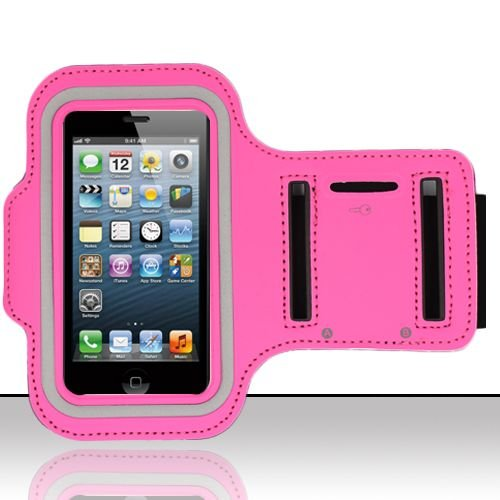 Brazalete deportivo para Apple Iphone 5 / 5S / 5C / iPod touch 5 - color fucsia - NOVAGO