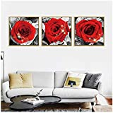 TYLPK Blooming Red Rose Love Canvas Painting Fashion Beautiful Flower Plant Wall Art Pictures for Living Room Decoración para el hogar Mural 20x20cm (7.8x7.8 Pulgada) x3 Sin Marco