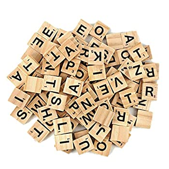 100Pcs Wooden Alphabet Tiles Scrabble Replacement Letters for Board Games Wedding Frame and Wall Art