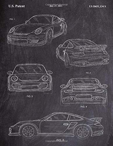 Porsche Notebook: Porsche Car Blueprint Journal Diary, 120 Dot Grid Pages, 8.5x11 Inches, Chalkboard Cover
