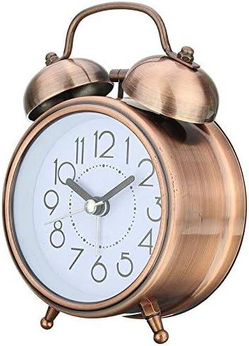 Despertador clásico Alarma creativa retro reloj de bronce antiguo del reloj redondo de doble campana fuerte alarma reloj de cabecera luz de la noche Inicio Decoraciones regalo Despertador de decoració