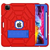 Grifobes iPad Pro 11 case 2020 & 2018, Shockproof Rugged Protective Cover with Pencil Holder & Stand for iPad Pro 11 2nd Gen 2020 (Latest Model) & 1st Gen 2018 (Red+Blue+Blue)