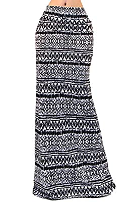 GotStyle Vivicastle Women's Spand Long Solid Rayon Foldover Maxi Skirt