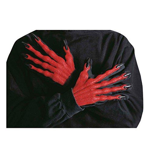 NET TOYS Mains de Diable Halloween pour déguisement Mains Diable Horreur Main du Diable Gants Halloween Gants de Diable Mains d'horreur