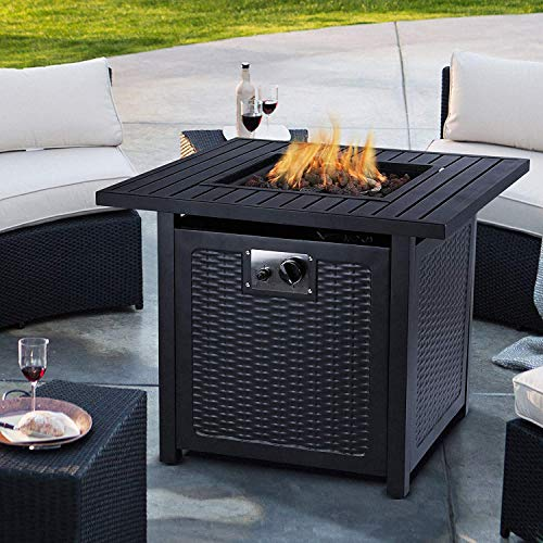 Propane Fire Pit Table, Auto-Ignition Gas Fire Pit Table with Lid and Free Lava Stone, Outdoor Heater Burner for Gardens and Patios