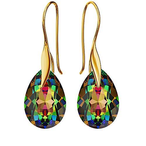 Pendientes chapados en oro de 24 K 925 con cristales de Swarovski – pera – Vitrail Medium – Gancho para mujer – Hermosa joya para mujer con caja de regalo
