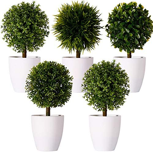 FagusHome 8 Artificial Plants Potted Artificial Boxwood Topiary Tree Artificial Ball Shaped product image