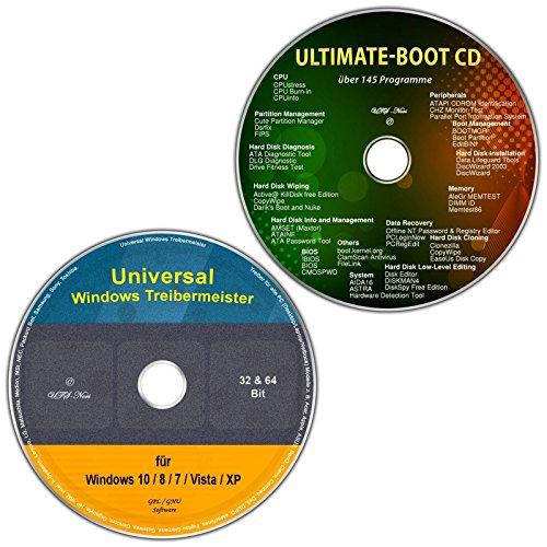 Preisvergleich Produktbild Universal Treiber-Meister für Windows 10 / 8 / 7 / Vista / XP (32 & 64 Bit) alle (PC & Laptop) Modelle + Ultimate Boot / Ersthilfe & Notfall-CD [System-Diagnose- und Reparatur-Werkzeuge]
