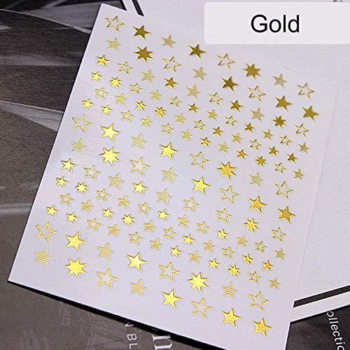 BLOUR 1 Uds.Pegatina artística de uñas 3D con geometría de Estrellas Encantadoras, Adornos de Oro/Plata/Oro Rosa, Deslizadores autoadhesivos, Accesorios de manicura