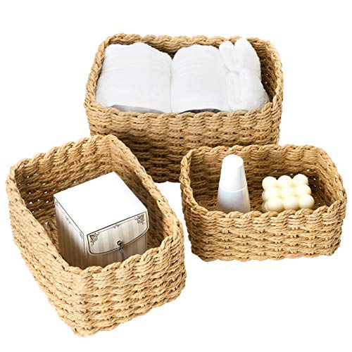 La Jolíe Muse Woven Wicker Storage Baskets, Paper Rope Storage Boxes Bin Organizer Divider for Cupboards Drawer Closet Shelf Dresser, Set of 3 (Desert)
