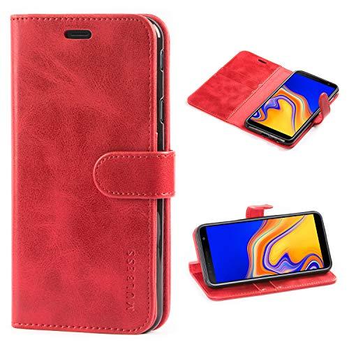 Mulbess Handyhülle für Samsung Galaxy J4 Plus Hülle Leder, Samsung Galaxy J4 Plus Handy Hüllen, Vintage Flip Handytasche Schutzhülle für Samsung Galaxy J4 Plus / J4+ Hülle, Wein Rot