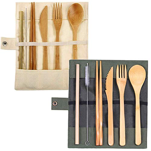 Yiiky 2 Juegos de Cubiertos de bambú Reutilizables, Cubiertos, Tenedores, Cuchillos, Palillos, cucharas, pajitas, cepillos, Bolsa de Tela con un Cepillo Limpio, para Viajes de Camping