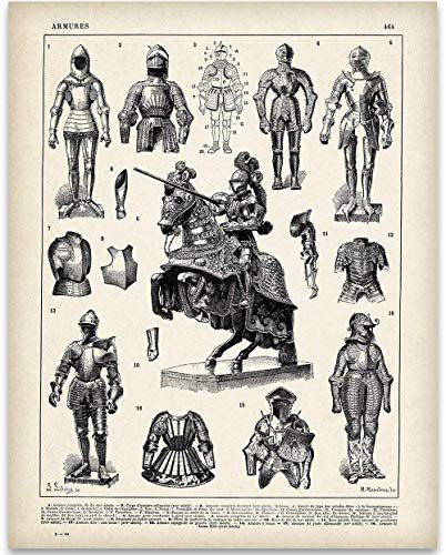 Knights and Suits of Armor Illustrations - 11x14 Unframed Art Print - Perfect Home Decor or Gift for Under $15 Medieval and Renaissance Fans