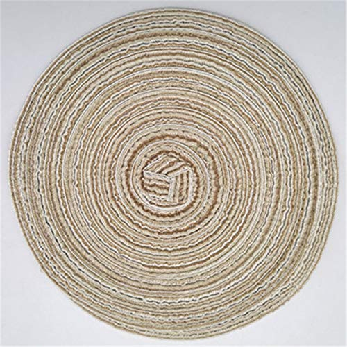Estera de tabla de hilo de algodón nórdico redondo western mantel mano-tejido antideslizante anti-escald aislamiento estera posavasos tazón estera