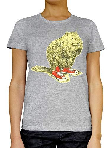 RaMedia Beaver met Sneakers Dames T-shirt Wit Grijs Zwart