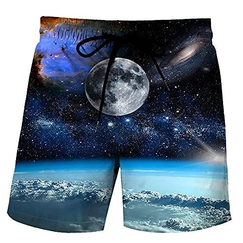 MLX-BUMU Color Starry Sky Verano 3D Moda Masculina Pantalones Cortos De Playa Pantalones Cortos Casuales Pantalones Cortos De Calle Unisex De Secado Rápido De Gran Tamaño,XXXXL
