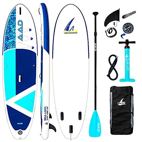 AKD Sealion Tabla Paddle Surf Hinchable 10'6' 320x81x15cm Tablas Paddle 150kg / 318L, Bomba con Manómetro, Pala Deportiva de Aluminio Ajustable, Mochila y Correa (Cian)