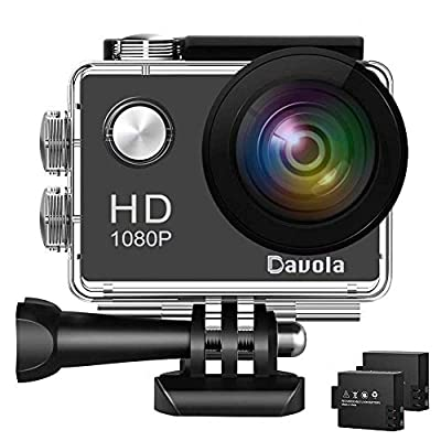Action Camera Davola 1080P WiFi Sports Camera 12MP Underwater Waterproof Camera with Wide-Angle Lens and Mounting Accessory Kits from Davola