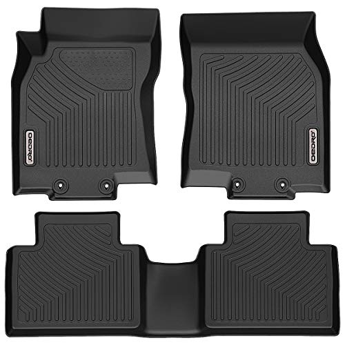 OEDRO Floor Mats Compatible for 2014-2020 Nissan Rogue, Unique Black TPE All-Weather Guard Includes 1st and 2nd Row: Front, Rear, Full Set Liners (No Rogue Select and Sport Models)