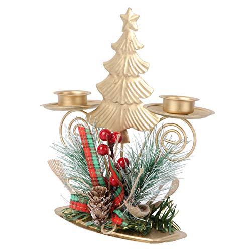 ABOOFAN Weihnachten Kerzenhalter Teelichthalter Metall Weihnachtsbaum Figur Ornament mit Tannenzapfen Rot Beere und Schleife für Christmas Xmas Party Tischdeko Fotorequisiten Weihnachtdeko