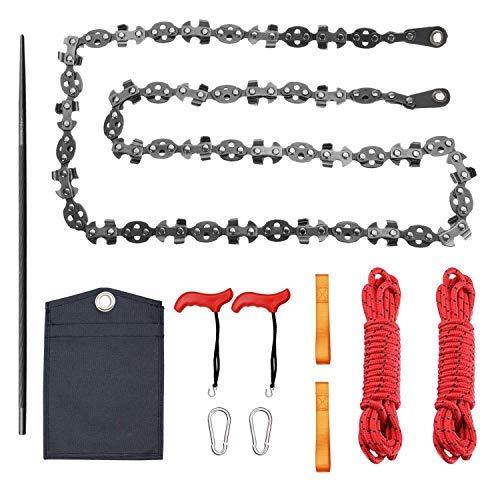 Sierra de cuerda de mano con dos cuerdas, 68 dientes afilados en ambos lados, bolsillo plegable..