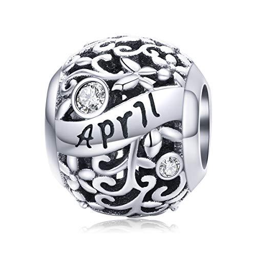 Geburtsstein Charms passen für Pandora Charms Armband-925 Sterling Silber April Bead Charms, alles Gute zum Geburtstag Charms für Armband und Halskette