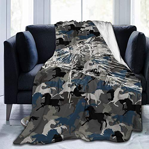 """QF6FEICHAN Premium Throw Blanket,Camouflage Horse Ultra-Soft Velvet Fleece Blanket 60""""X50"""""""