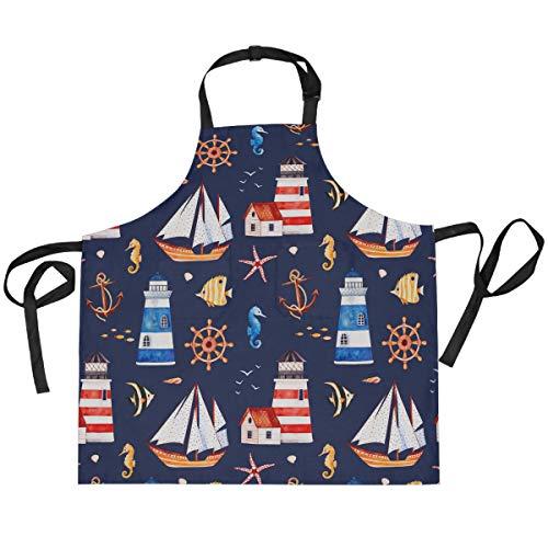 Hunihuni - Delantal de cocina con ancla náutica, ajustable, con 2 bolsillos para cocina, hornear, barbacoa