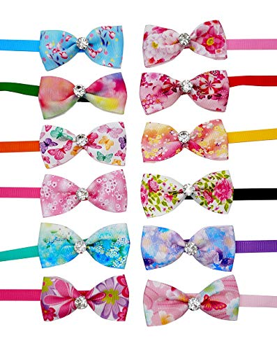 JpGdn 12pcs Pet Bowties Dog Bow Ties Neck Bows with Glittery Rhinestone Adjustable Neckties Collar for Small Medium Puppy Doggy Cats Animals Grooming Accessories