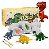 Dino Egg Dig Kit, 12 Dinosaur Eggs and Dinosaur Egg Excavation Kit for Dinosaur Birthday Theme Party, Easter Gifts Science Toys for Boys Girls