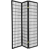 Legacy Decor 3, 4, 6, 5, 8 Panels Room Divider Screen Partition Shoji Style 6 ft Tall (Black, 3 Panel)