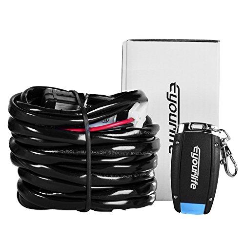 Eyourlife LED Light Bar Wiring Harness Kit cablaggio wireless ON/OFF Strobe Interruttore di comando a distanza Luce di guida Fendinebbia Luce di lavoro fuoristrada SUV AWD 4WD ATV Jeep (1 LEAD)