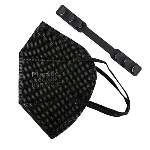 Placide FFP2 Partikelfilter Halbmaske 20 Stück Schwarz Atemschutzmaske, EU CE0598 Zertifizierte Mund- und Nasenschutz nach EN149:2001+A1:2009