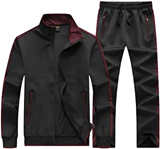 Men's Casual Tracksuit Long Sleeve Full-Zip Running Jogging Athletic Sweat Suits Set