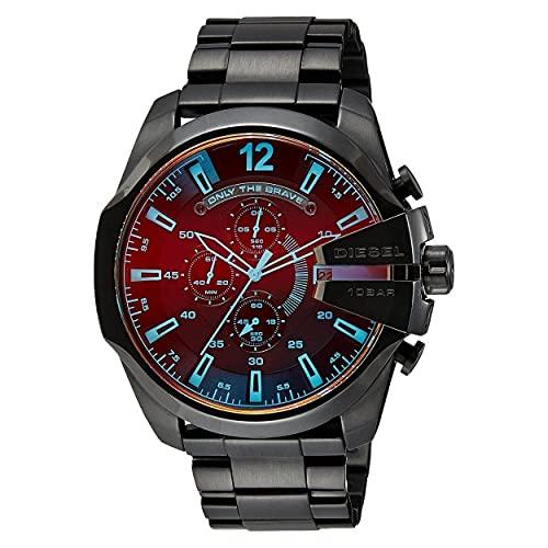 Diesel Mega Chief Reloj cronógrafo de Cuarzo para Hombre, Acero Inoxidable, Color: Negro (Modelo: DZ4318)