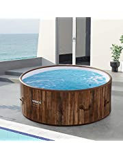 Arebos Whirlpool Copenhagen | opblaasbaar | binnen en buiten | 7 personen | dropstittch | 130 massagejets | met verwarming | 1120 liter | incl. afdekking | Bubble Spa & Wellness Massage