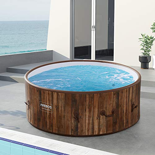 Arebos Whirlpool Copenhagen | Aufblasbar | In- & Outdoor | 7 Personen | Drop-Stitch | 130 Massagedüsen | mit Heizung | 1120 Liter | Inkl. Abdeckung | Bubble Spa & Wellness Massage