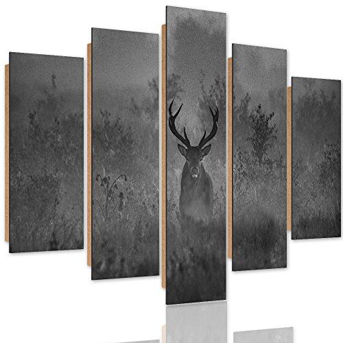 Feeby Frames Panneaux Deco Cerf Photo 5 pièces Noir et Blanc 150x100 cm
