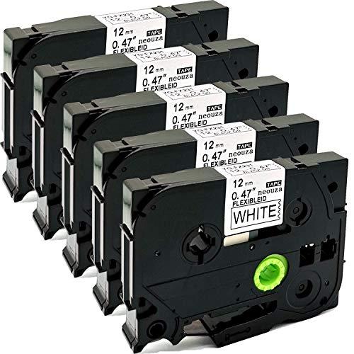 Cartucho de cintas de colores de 12 mm x 8 m, compatible con Brother P-Touch Tze y Tz, pack de 5 unidades , color TZe-Fx231 Flexible Black on White