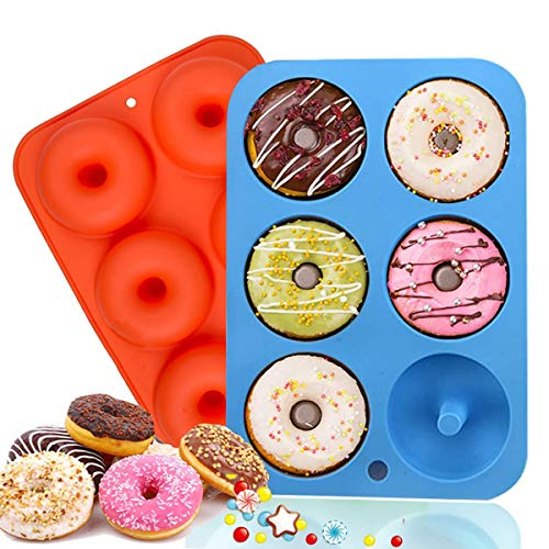 Sawyd Silicone Donut Molds, 2 Pack Non-Stick Silicone Donut Baking Pan Baking Tray for 6 Size Donuts, Bagels, Cake and More -10.24 x 7x1 inches