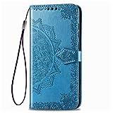 KERUN Hülle für Oppo Reno 4Z 5G Flip Lederhülle, 3D Mandala Muster Geprägte Prägung Handyhülle, Premium Leder Brieftasche Handytasche Schutzhülle mit Kartenfach Standfunktion.Blau
