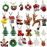 24 decorazioni natalizie per albero di Natale, in resina, con Babbo Natale, pupazzo di neve, alce e fiocchi di neve, orsetto, decorazione per calendario dell'Avvento