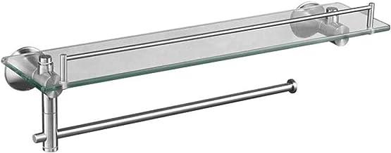 Badkamer Gehard Glas Plank, 304 Rvs Ponsvrij 1 Tier Opbergrek, Wandmontage Handdoekenrek Badkamer Plank Glas