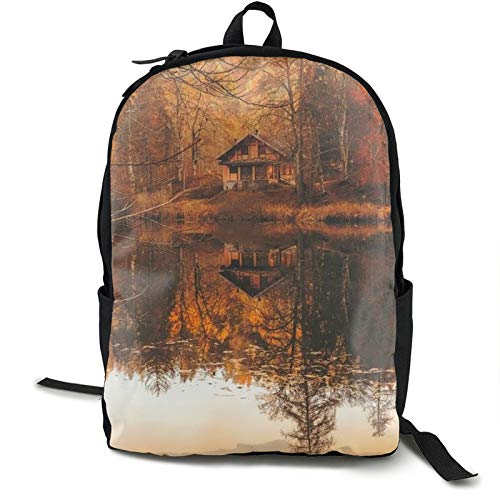 Lightweight Backpack Rucksack Foldable Ultralight Packable Backpack,Autumn Fall Cottage House Hut Cabin Unisex Durable Handy Daypack for Travel & Outdoor Sports